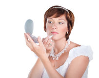 Young bride makeup isolated on white Royalty Free Stock Photos