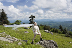 Young bride on mountain top Stock Image