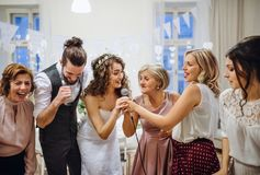 A young bride with other guests dancing and singing on a wedding reception. A young cheerful bride with other guests dancing and singing on a wedding reception stock photo