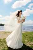 Young bride outside Royalty Free Stock Photos