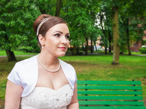 Young bride outside closeup Royalty Free Stock Photography