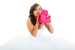 Young bride painting her face Royalty Free Stock Photography
