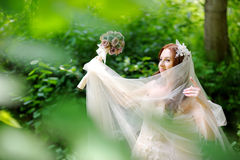 Young bride posing in beautiful summer park Royalty Free Stock Photography