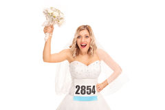 Young bride with a race number Stock Photography