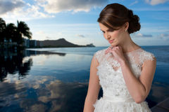 Young Bride Reflecting . Royalty Free Stock Images