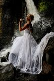 Young Bride On A River Stock Photography
