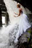 Young Bride On A River Stock Photo