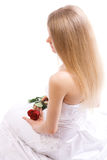 Young bride with rose royalty free stock image