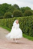 Young bride running happy Stock Photo