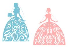 Young bride silhouette Royalty Free Stock Image