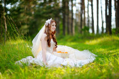 Young bride sitting on a grass Stock Images