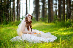 Young bride sitting on a grass Stock Photography