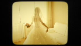 Young Bride Spinning In The Room stock footage