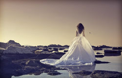 Young bride standing on a cliff at the sea Royalty Free Stock Photos