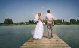 Young bride turns back. Young happy newlyweds walking and posing on a riverside Stock Photography