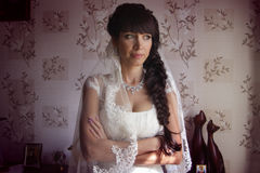 Young bride waiting for her groom Royalty Free Stock Photography
