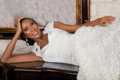 Adult Bride Wearing Bridal Gown and Jewelry Royalty Free Stock Image