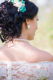 Young bride wearing a white dress Royalty Free Stock Images