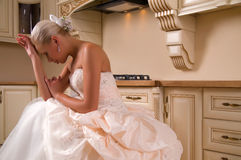 Young bride in a wedding dress Stock Photos