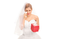 Young bride in a wedding dress crying Stock Photo