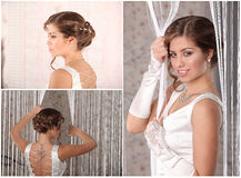 Young Bride with Wedding Tiara on Wooden Background Modern Bridal Style Stock Image