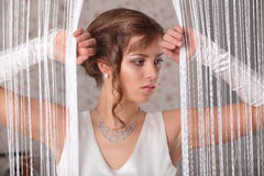 Young Bride with Wedding Tiara on Wooden Background Modern Bridal Style. Studio Royalty Free Stock Photography