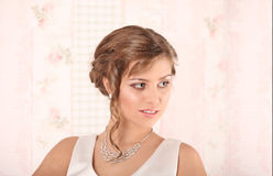 Young Bride with Wedding Tiara on Wooden Background Modern Bridal Style. Studio Royalty Free Stock Image