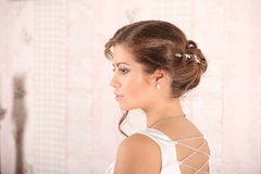 Young Bride with Wedding Tiara on Wooden Background Modern Bridal Style. Studio Stock Image