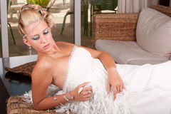 Young bride in white dress Stock Photos