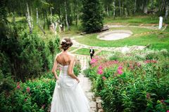 Bride is hurrying down the stairway to her groom stock photo