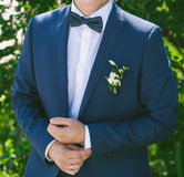 Young bridegroom in blue suit. outdoors Royalty Free Stock Images