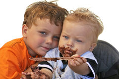 Young Brothers Celebrating Birthday Royalty Free Stock Photography