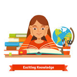 Young brown hair girl student reading a book Royalty Free Stock Photo