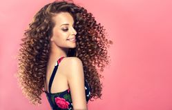 Young, brown haired woman with dense,elastic curls in a hairstyle.Portrait in profile. Young, wide smiling brown haired woman with voluminous hairstyle in royalty free stock image