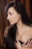Young brunete model. Young brunet model with a deep cleavage Royalty Free Stock Photos