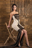 Young brunete model. Young brunet model posing in a couture dress Stock Image