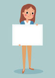 Young brunett girl holding blank sign. Illustration of smiling young girl holding white blank sign Royalty Free Stock Photography