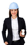 Young brunette architect holding blueprints Stock Image