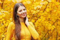 Young brunette in autumn park Royalty Free Stock Photo