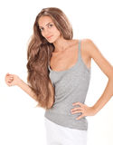 Young brunette beautiful lady with long hairs Stock Image