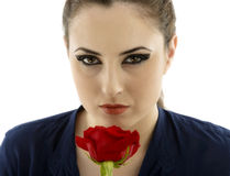 Young brunette with a beautiful red rose Stock Photo