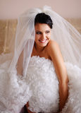 Young brunette  bride. Adorable young brunette  bride is getting ready in the morning Royalty Free Stock Image