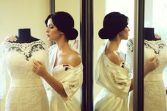 Young brunette bride stock image