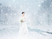 A young brunette bride in a white dress on the snow Royalty Free Stock Image
