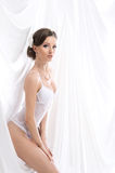 A young brunette bride in white erotic lingerie Stock Image