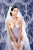A young brunette bride in white erotic lingerie Royalty Free Stock Photos