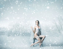 A young brunette bride in white lingerie on the snow Stock Images