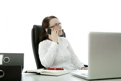 Young brunette business woman and cell phone Stock Image