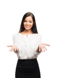 A young brunette business woman isolated on white Stock Photo