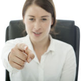Young brunette business woman want you Royalty Free Stock Image